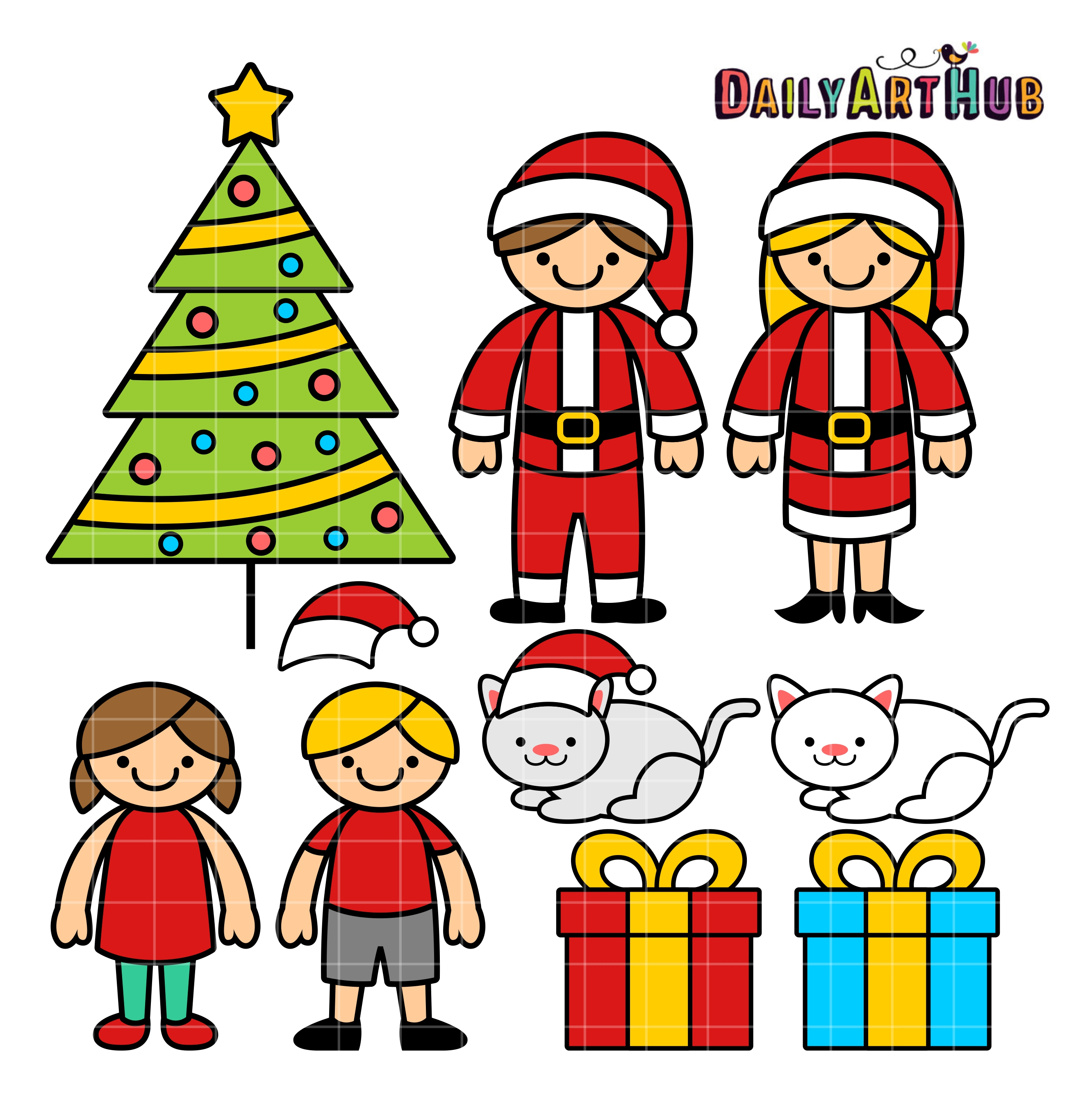2664x2670 Christmas Family Clip Art Set Daily Art Hub