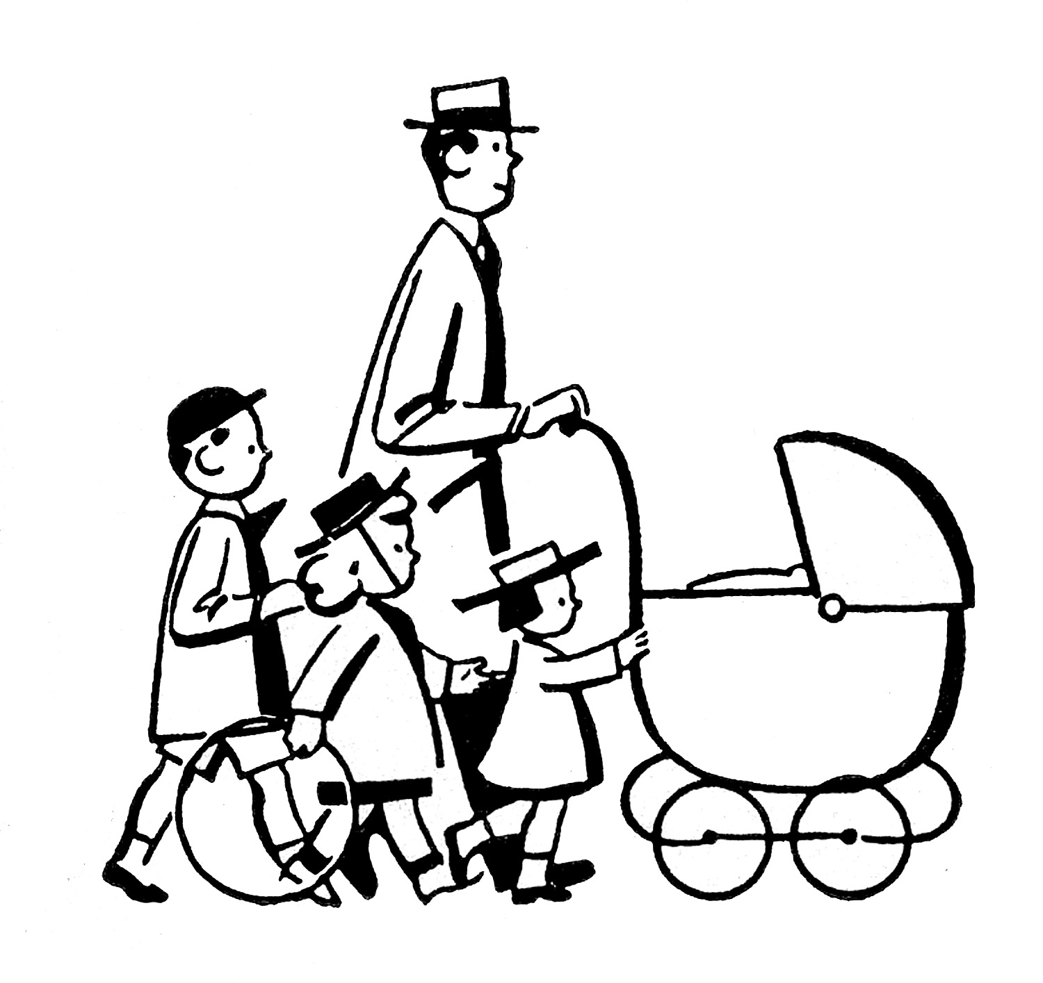 1500x1415 Family Clipart Black And White