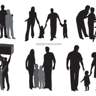 340x340 32 Family Silhouette Clip Art Vectors Download Free Vector Art