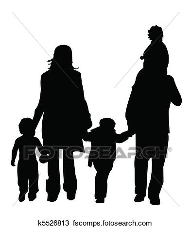 393x470 Clipart Of Silhouette, Figure Family K5526813