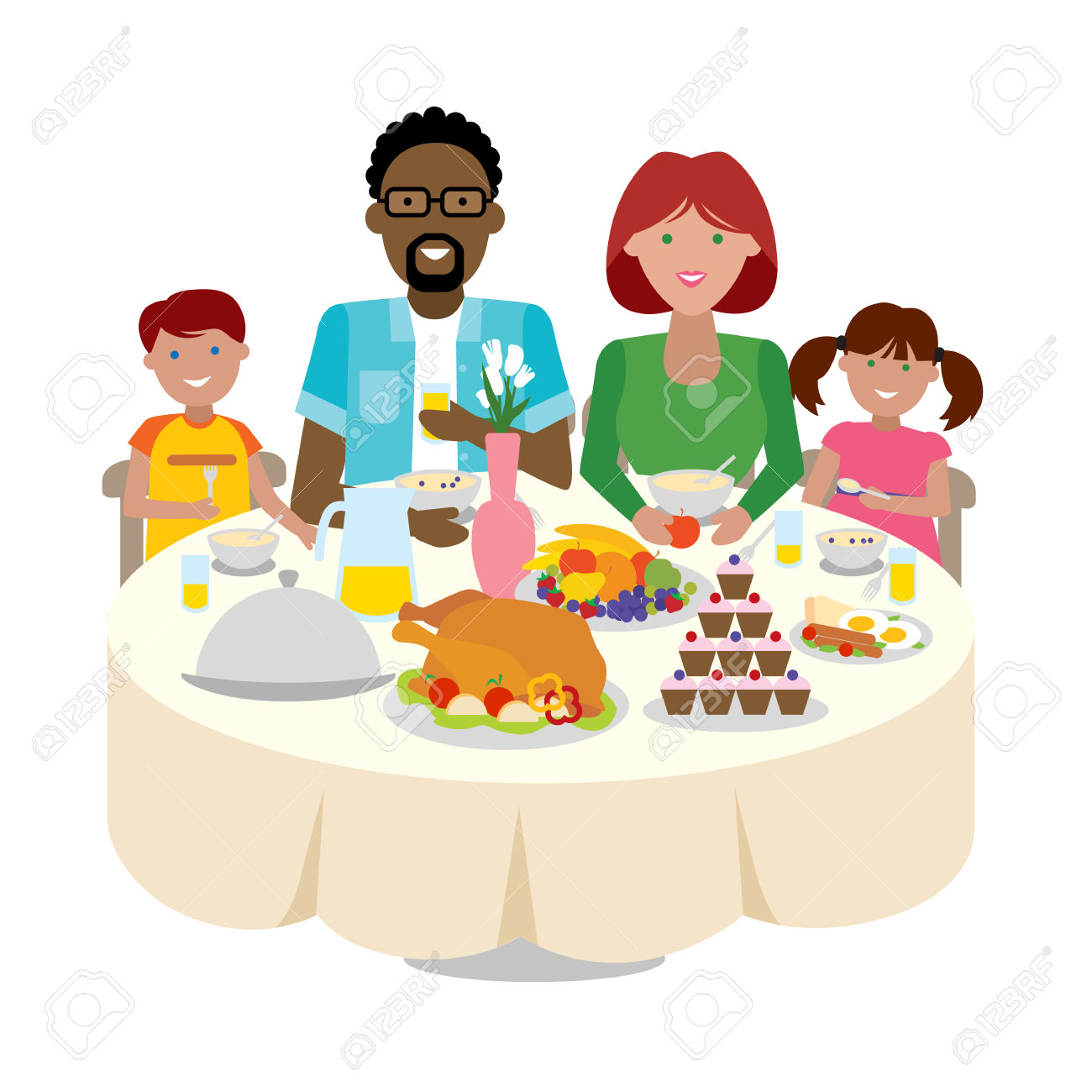 Family Dinner Table Clipart