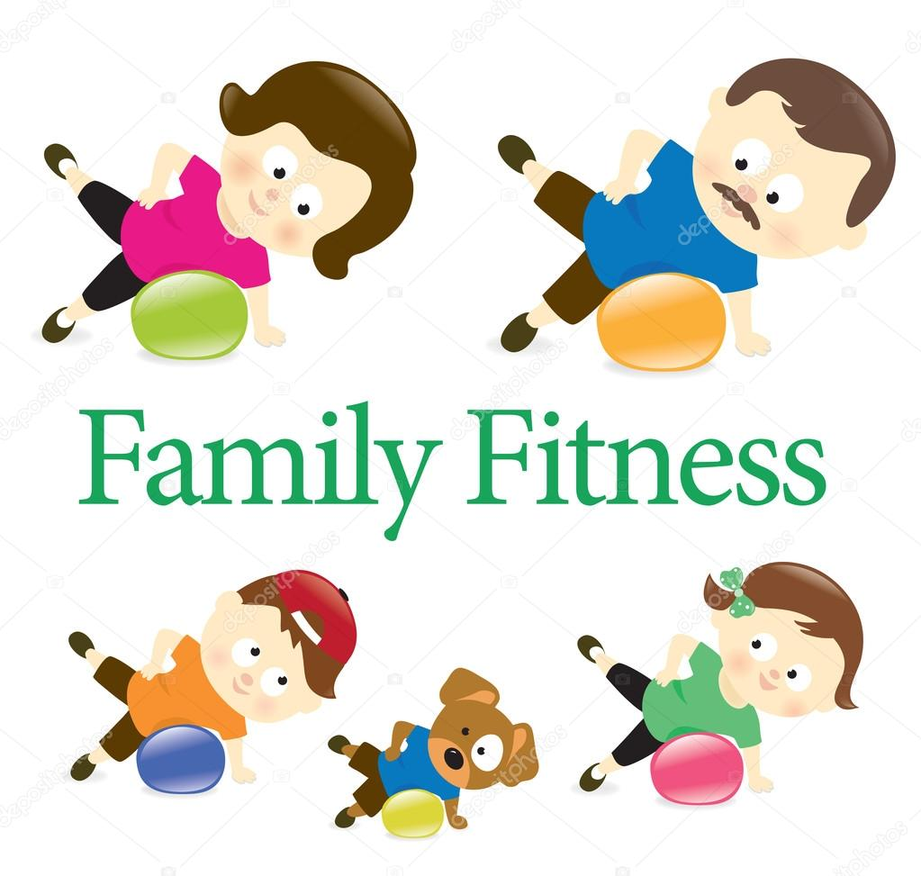 1023x973 Family Fitness With Exercise Ball Stock Vector Wetnose