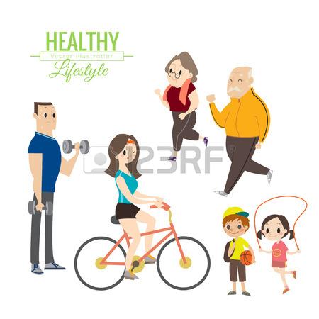 450x450 Healthy Lifestyle Happy Family Exercising Vector Cartoon