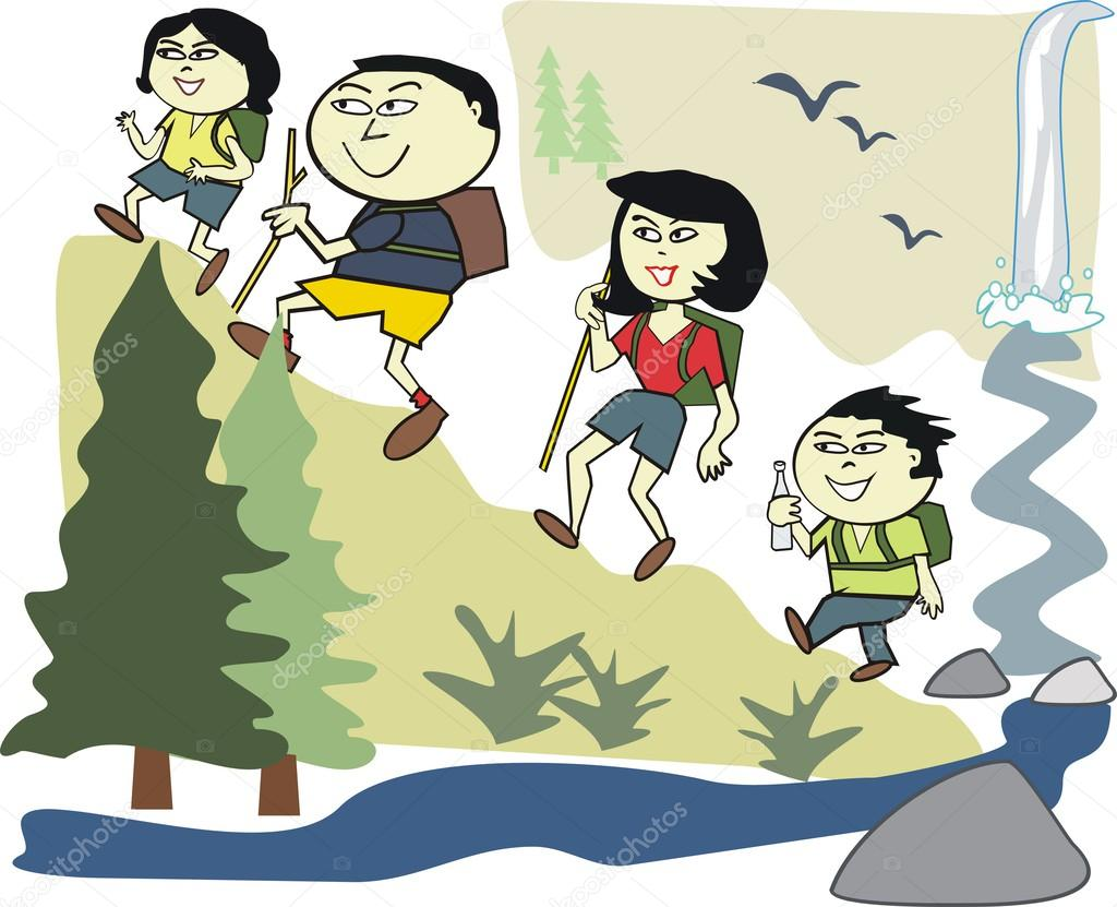 1024x831 Vector Cartoon Of Happy Asian Family Hiking In Wilderness Park