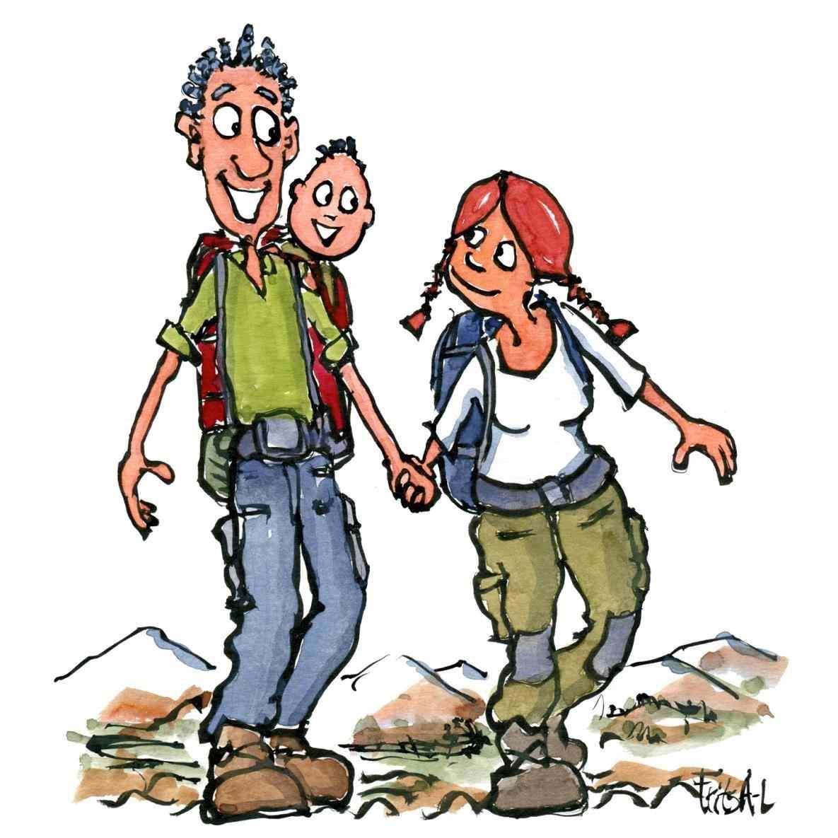 1185x1185 Cartoon Mountains Shutterstock Cartoon Family Hiking Clipart