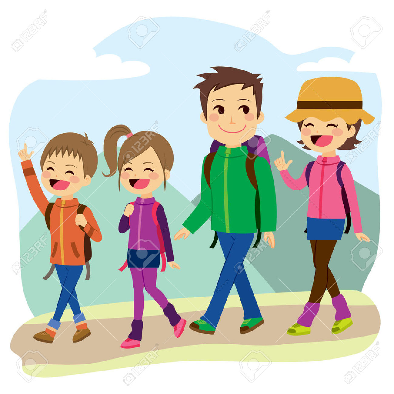 family hiking clipart free download best family hiking
