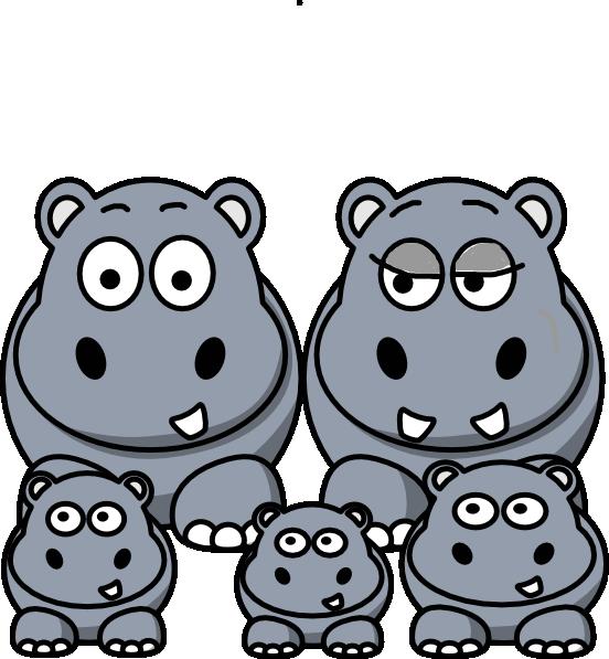 552x597 Hippo Family Clip Art