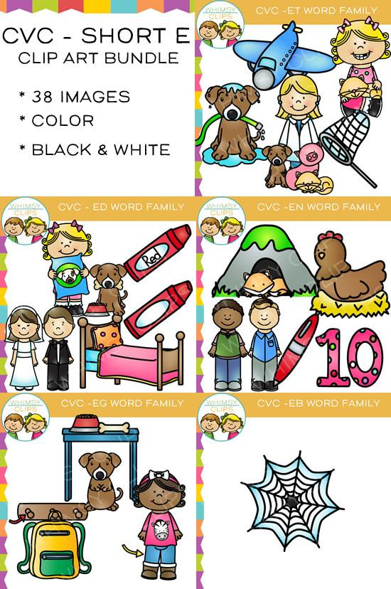 550x828 Cvc Short E Word Family Clip Art Bundle {Volume One} , Images