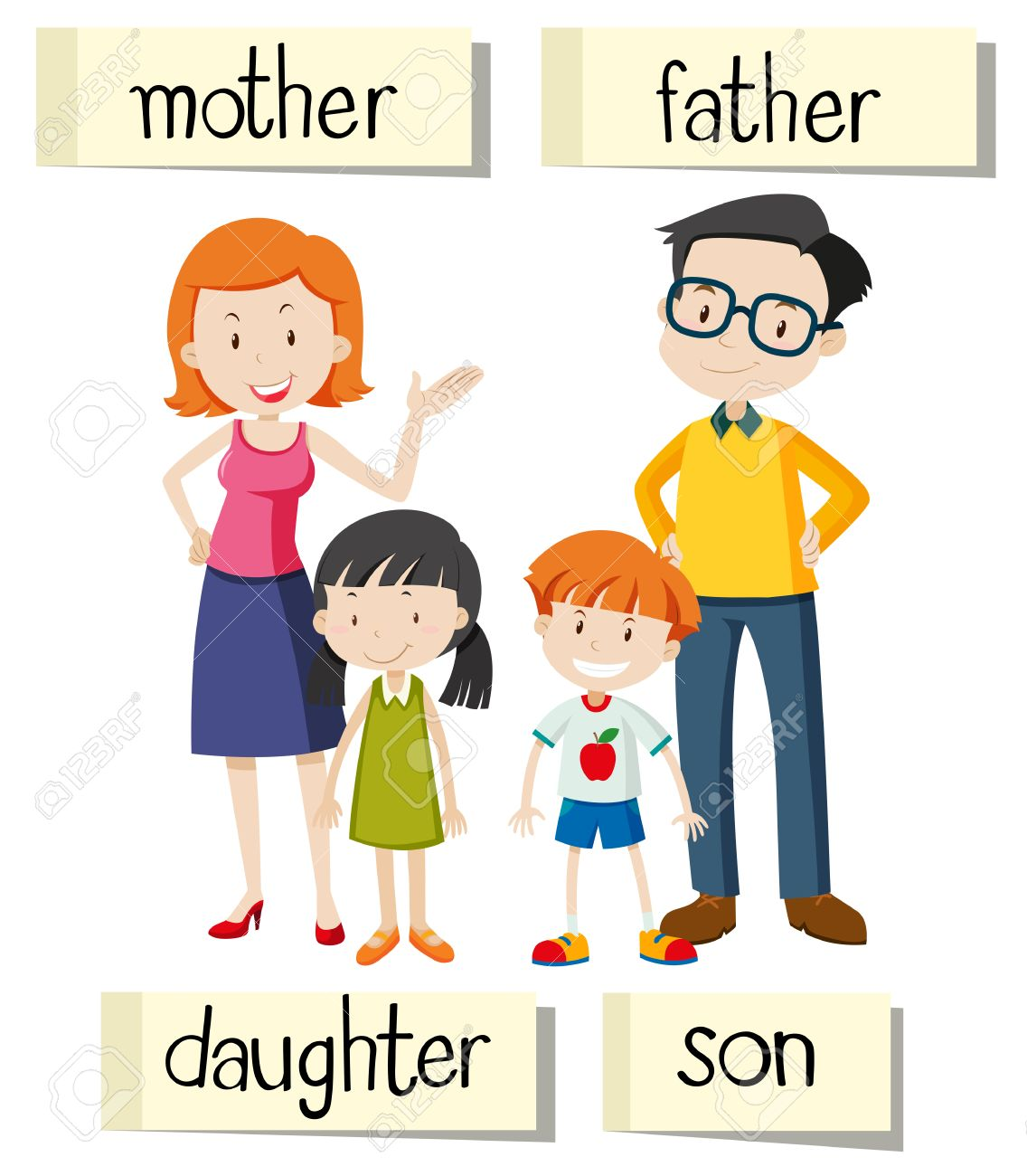 members clipart flashcards wordcard clip cliparts illustration vector flashcard father mother daughter word royalty clipartmag graphic identify related together keywords