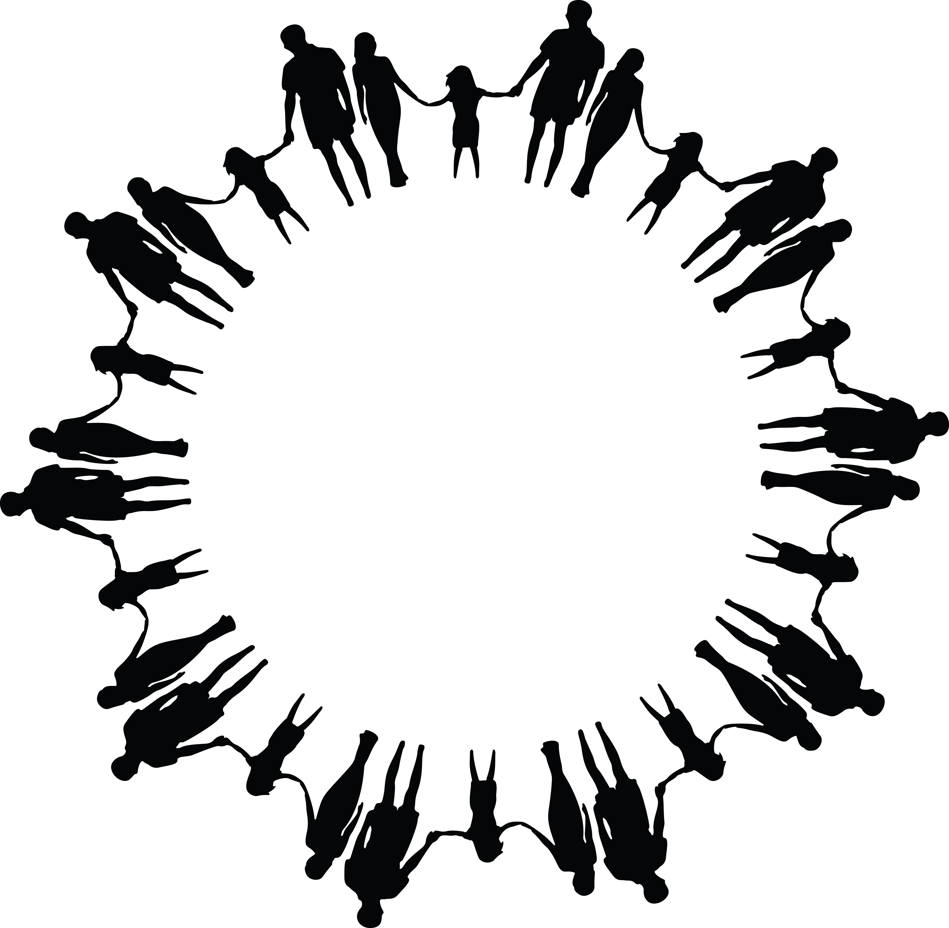 4000x3915 Clipart Of A Black And White Round Frame Made Of Family Members