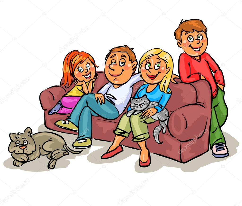 1024x872 Family Members On Sofa Stock Vector Nataliahubbert