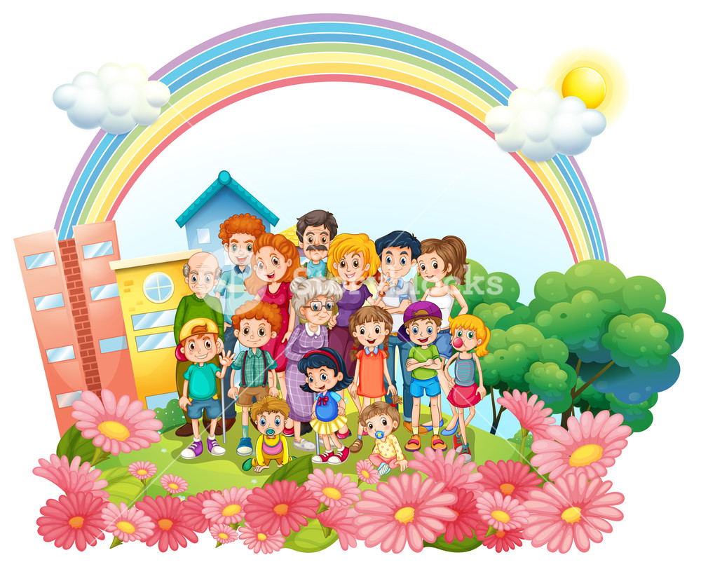 1000x812 Family Members Standing In The Garden Illustration Royalty Free