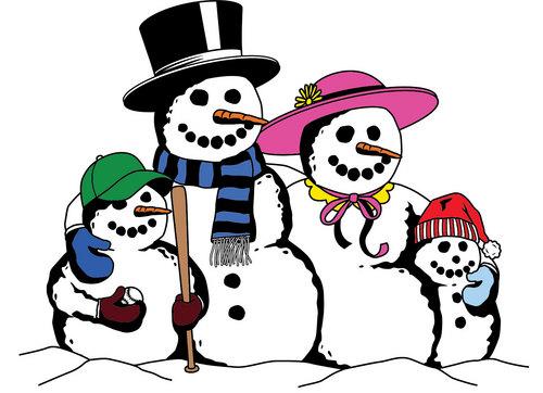 500x362 Holydays Clipart Snowman Family