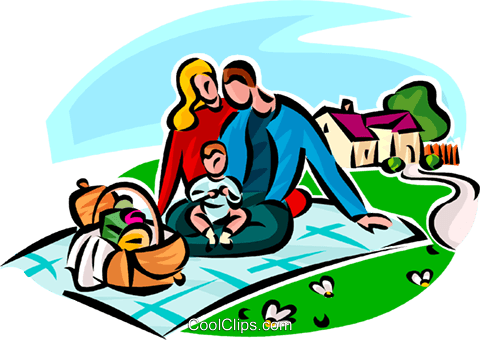 480x340 Family Picnic Royalty Free Vector Clip Art Illustration Vc065146