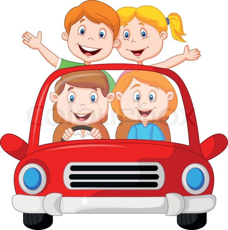 792x800 Road Trip With Family Cartoon Stock Vector Colourbox