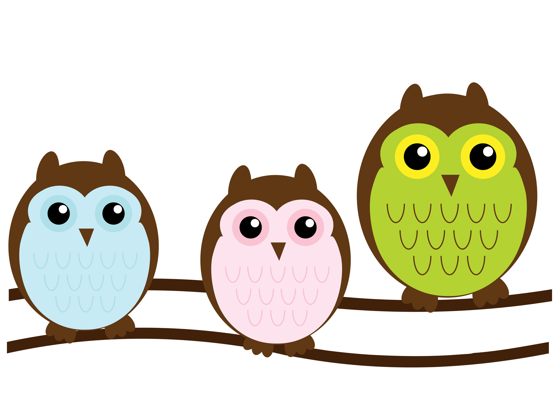 1920x1374 Owl Family Cute Clipart Free Stock Photo