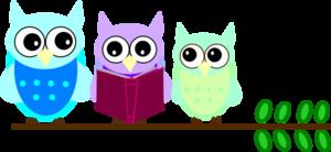 300x138 Owl Family Reading Clip Art