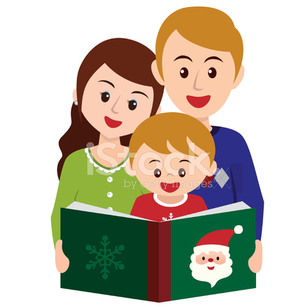 440x440 Reading Story Book In Christmas Time With Family Stock Vector