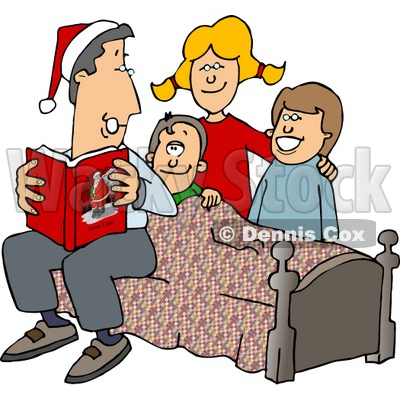 400x400 Reading A Bedtime Christmas Story To His Sons And Daughter Clipart