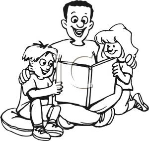 300x283 Family Reading Together Clipart Black And White Letters Example