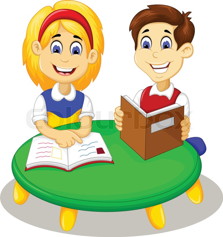 753x800 Vector Illustration Of Funny Little Girl And Boy Cartoon Studying