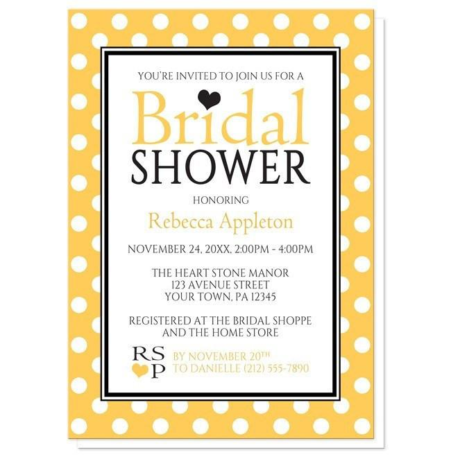 650x659 Dot Yellow Black And White Bridal Shower Invitations