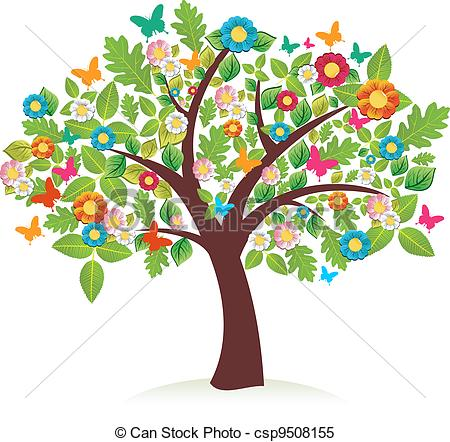 450x442 Vector Abstract Spring Time Tree Stock Illustration Royalty Free