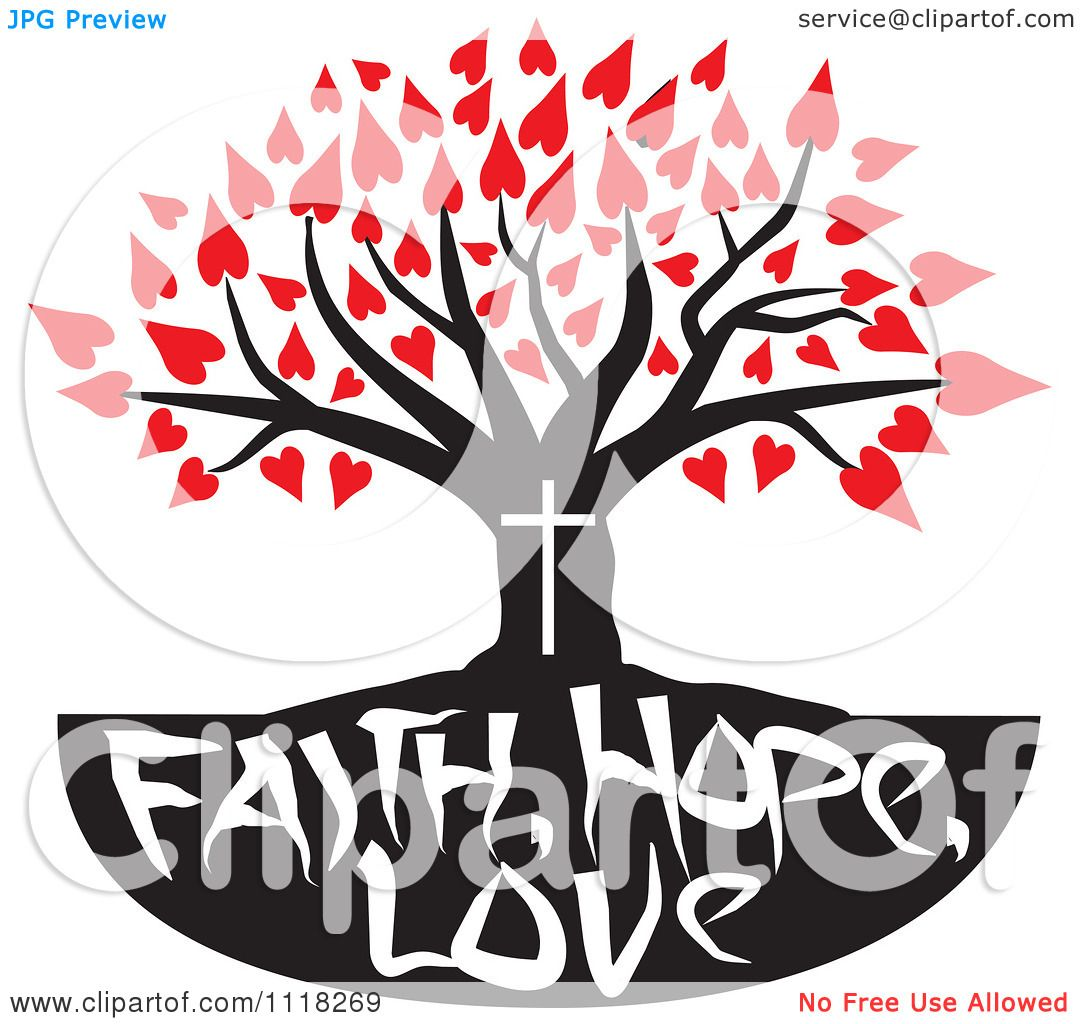 1080x1024 Cartoon Of A Christian Family Tree With Faith Hope Love Text
