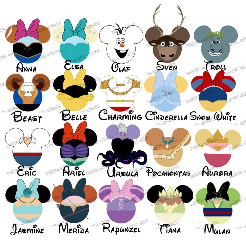 1024x1024 Choose Your Mouse Head Characters Disney Family Vacation Digital