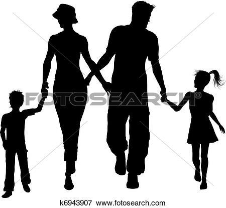 450x414 Family Silhouette Clip Art