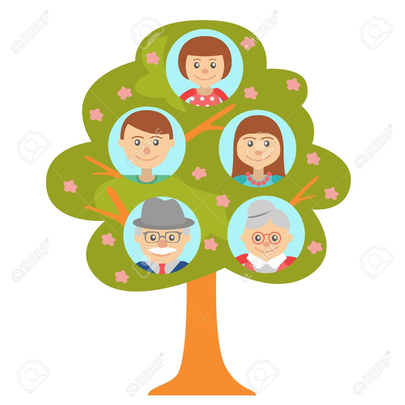 1300x1300 Cartoon Generation Family Tree Illustaration Isolated On White
