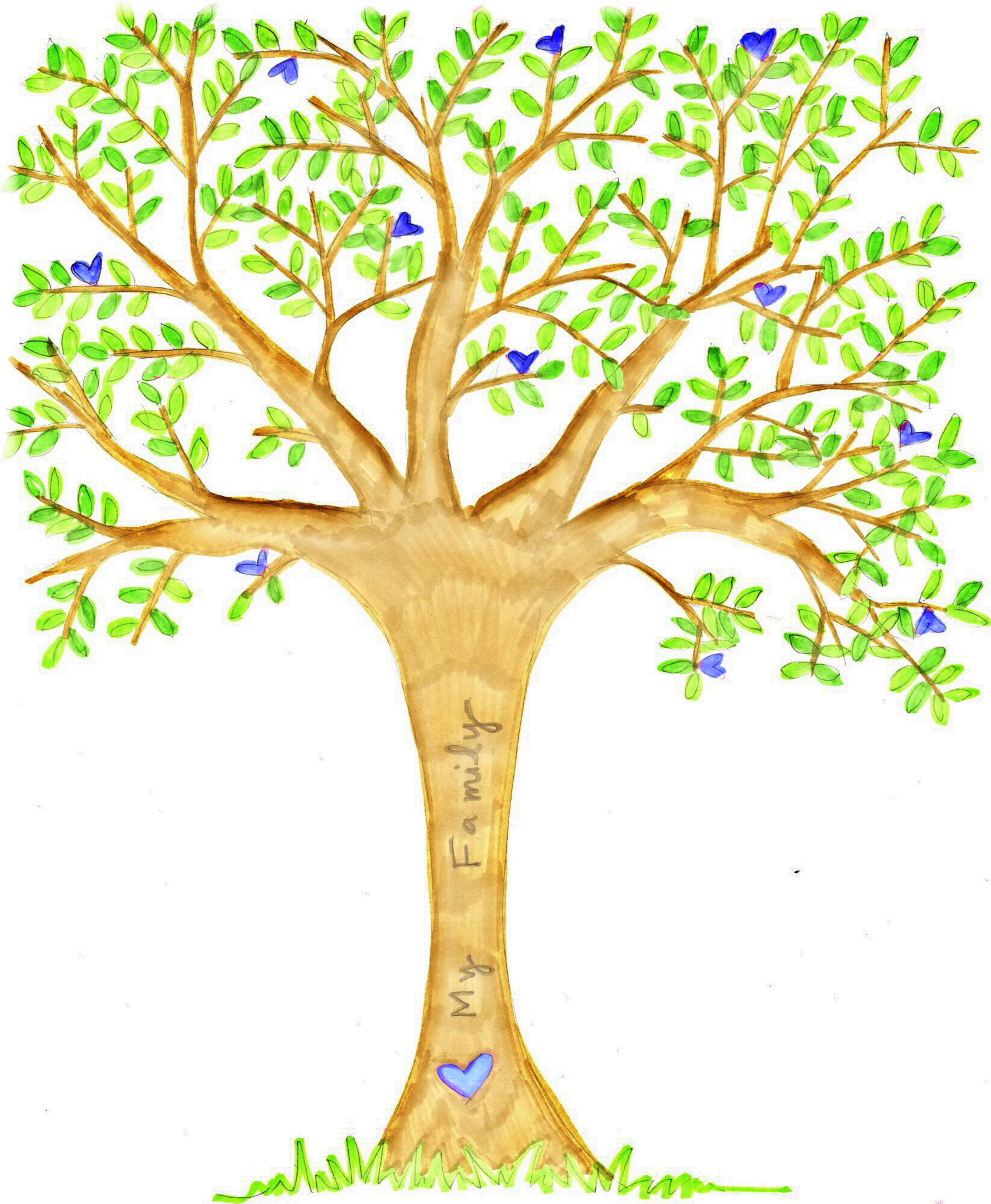 2407x2924 Family Tree With Hearts Clipart