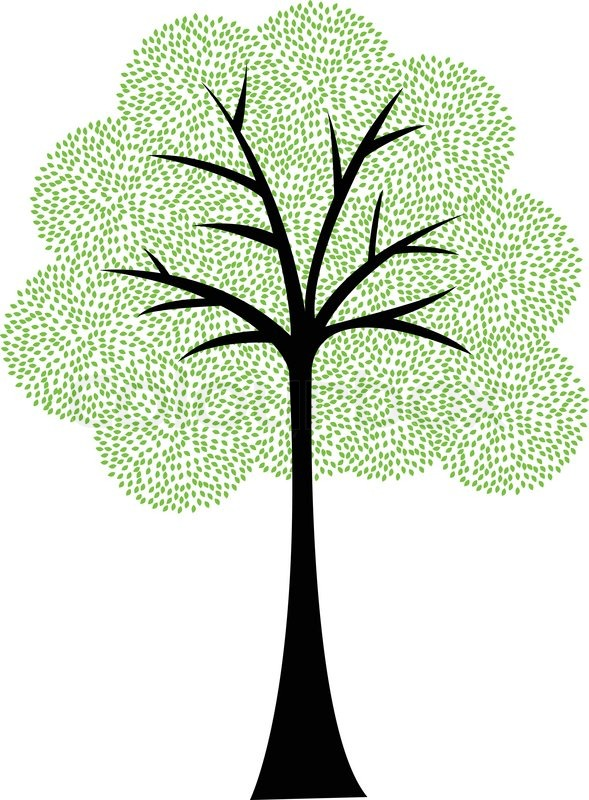 589x800 Art Tree Silhouette Isolated On White Background Stock Vector