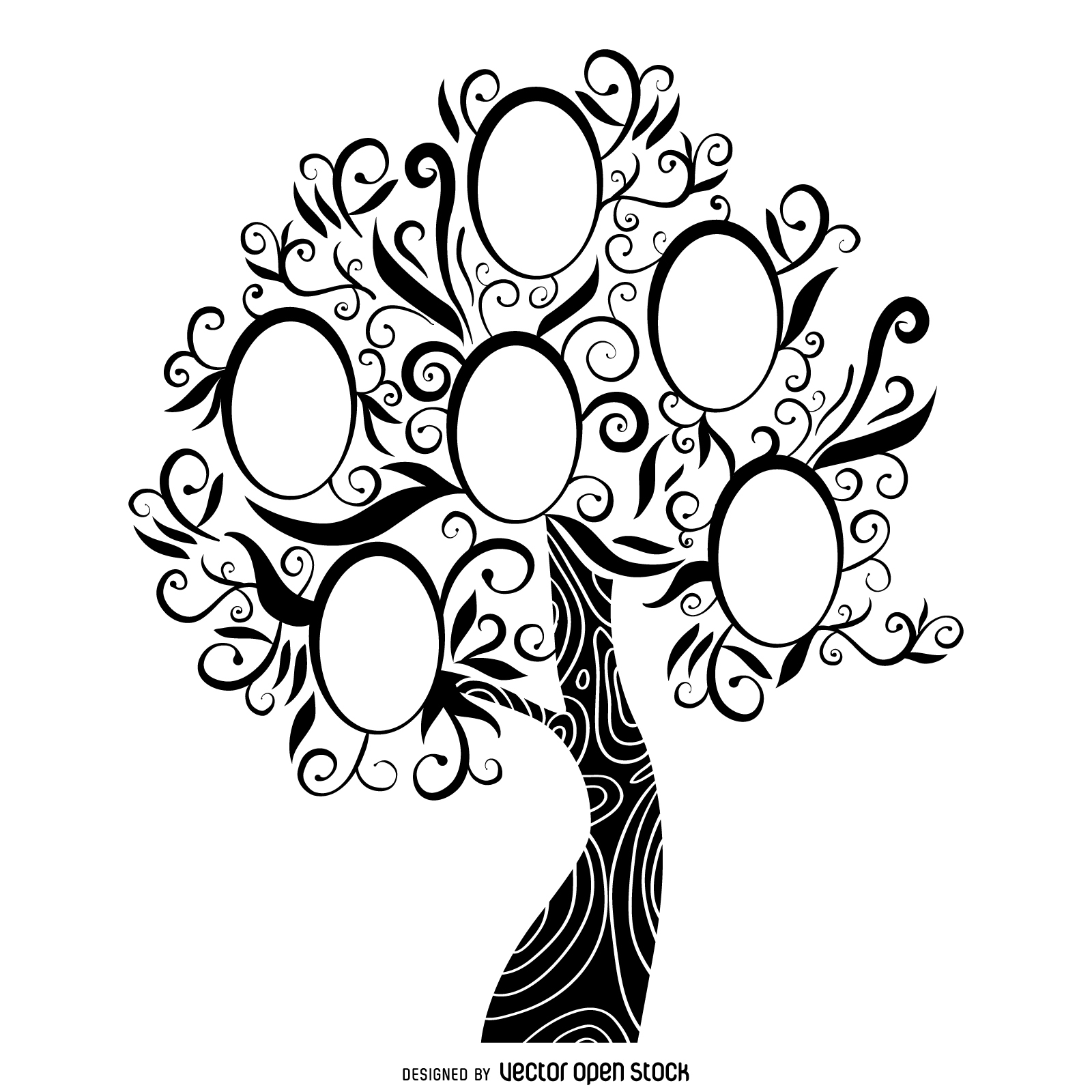 1600x1600 Black And White Family Tree