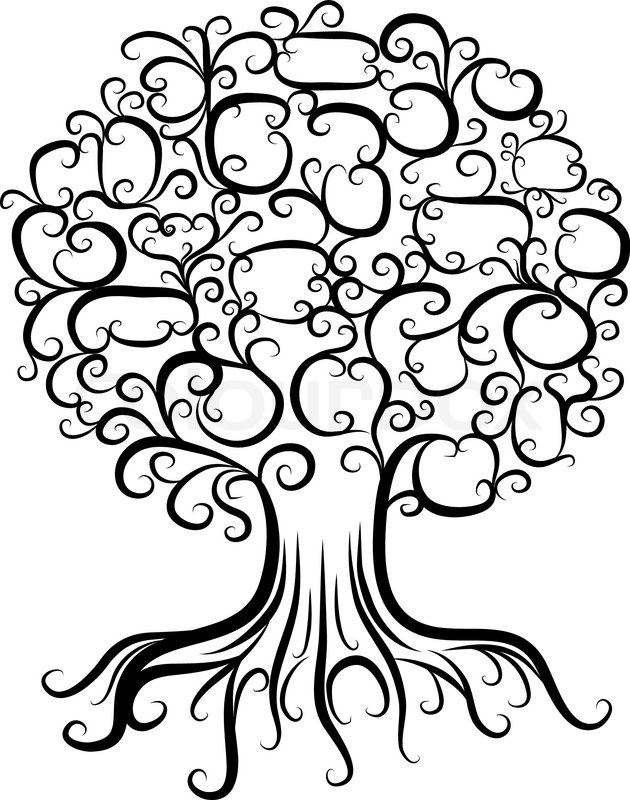 630x800 Ornamental Tree With Roots For Your Design Stock Vector Colourbox
