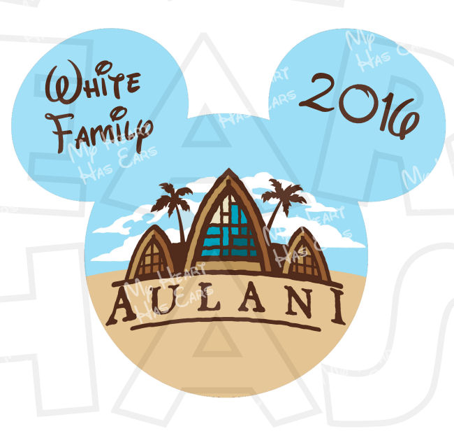 650x626 Mickey Mouse Aulani With Personalized Family Name Text Disney