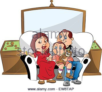 355x320 A Vector Illustration Of Family Watching Television
