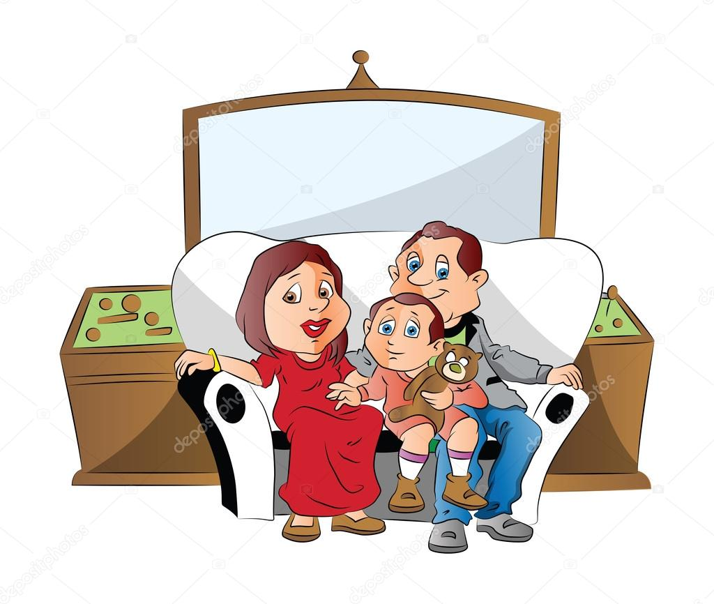 1024x866 Vector Of A Family Sitting On Couch, Watching Television. Stock