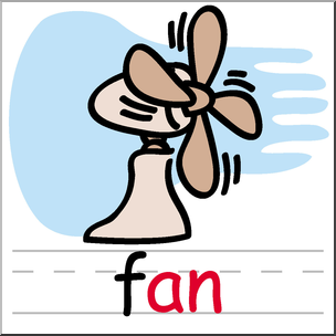 304x304 Clip Art Basic Words An Phonics Fan Color I