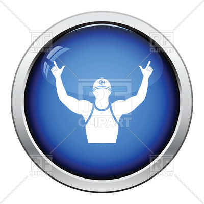 400x400 Glossy Button Design Of Fan With Hands Up Icon Royalty Free Vector