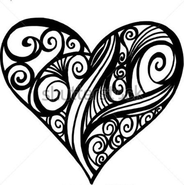 379x380 Calligraphy Heart Clipart