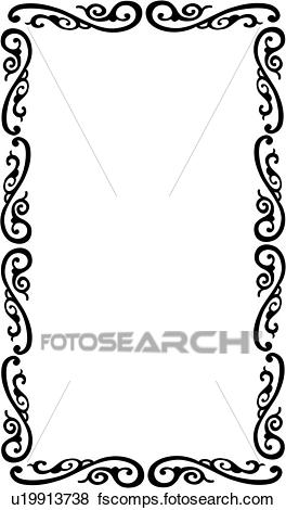 264x470 Clip Art Of , Blank, Border, Fancy, Frame, Rectangle, Sign, Swirls