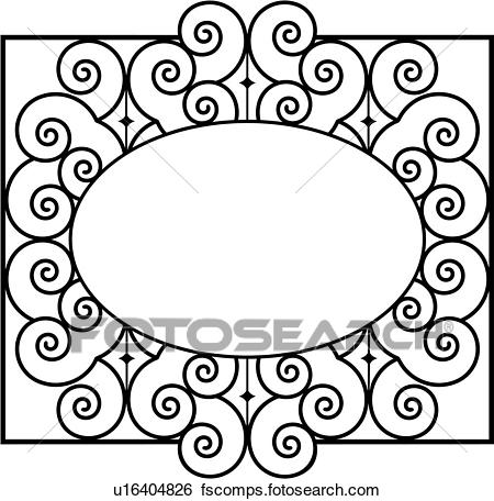 450x456 Clip Art Of , Border, Fancy, Frame, Gate, Iron, Ironwork, Oval