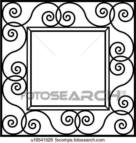 446x470 Clip Art Of , Border, Fancy, Frame, Iron, Ironwork, Square, Swirls