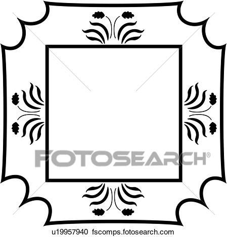 449x470 Clipart Of , Amish, Blank, Border, Fancy, Folk Art, Frame, Sign