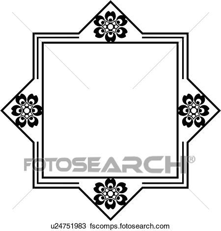 450x470 Clipart Of , Blank, Border, Fancy, Folk Art, Frame, Sign, Square