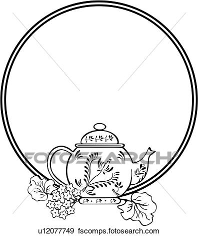 396x470 Clip Art Of , Border, Cameo, Circle, Fancy, Frame, Panels, Teapot