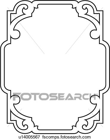 369x470 Clip Art Of , Asian, Blank, Border, Fancy, Frame, Rectangle, Sign