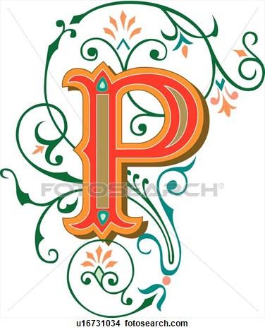376x470 Fancy letter p logo design Clipart