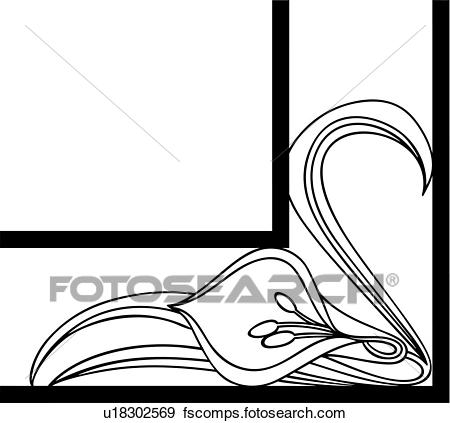 450x423 Clip Art Of , Border, Cala, Corner, Fancy, Floral, Frame, Lily